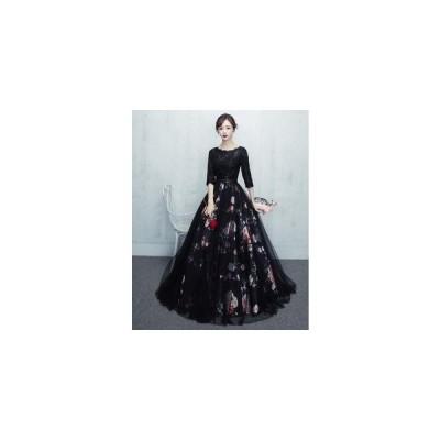 パーティードレス ロングドレス 演奏会 結婚式 ドレス 袖あり 花嫁 花柄 刺繍  二次会ドレス お呼ばれ ピアノ 発表会 ウェディングドレス フォーマルドレス