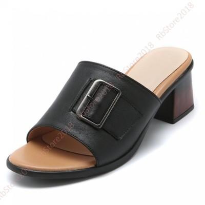 レディース ファッション サンダル 本革 太ヒール ミュール  5cm ヒール 軽量 美脚 疲れにくい サボ ミュール オープントゥ 歩きやすい シンプル 大きいサイズ
