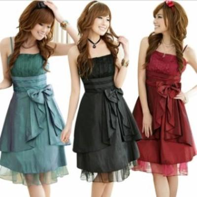 ミニドレス パーティードレス ミニ ドレス ワンピース 大きいサイズ 膝丈 ノースリーブ チュールスカート ウエストリボン