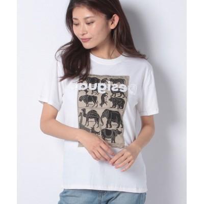【デシグアル】 Tシャツ半袖 AFRICAN ANIMALS レディース ホワイト系 XL Desigual