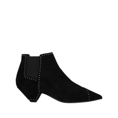 SAINT LAURENT ショートブーツ ブラック 38.5 革 / 紡績繊維 ショートブーツ