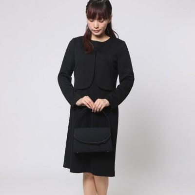 ブラックギャラリー BLACK GALLERY ノーカラージャケットの洗えるニット素材アンサンブル (ブラック) [ブラックフォーマル 喪服 礼服]
