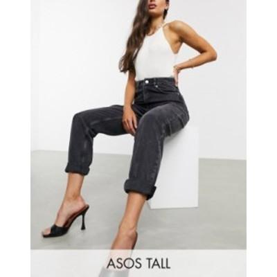 エイソス レディース デニムパンツ ボトムス ASOS DESIGN Tall High rise 'slouchy' mom jeans in washed back Washed black