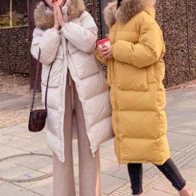 冬物 レディース コート ロング ジッパー ダウン 防寒 ファー 女子会 デート 通学 カジュアル AA0025