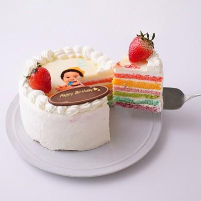 かわいいオーダー萌え断ケーキ♪ 写真レインボーケーキ 5号 15cm