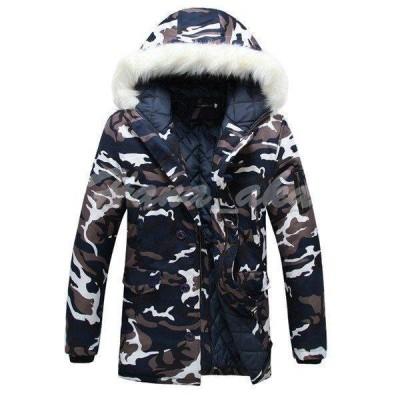 中綿コート メンズ 冬 アウター 厚手 中綿ジャケット カップル ダウン風コート パーカー フード付き 迷彩柄 暖かい 防寒 大きいサイズ おしゃれ スリム 紳士