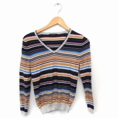 【中古】マカフィー MACPHEE トゥモローランド ニット セーター ボーダー カラフル Vネック 長袖 薄手 ウール 1