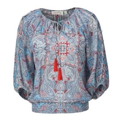レディース 衣類 トップス Souvenir womens Silk Printed Peasant Top ブラウス&シャツ