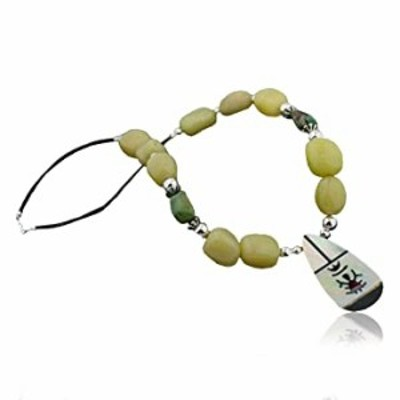 Native-Bay $280Tag Inlay KACHINACertified Silver Navajo Turquoise Yellow Agate Necklace 390616858886 Made by Loma Siiva