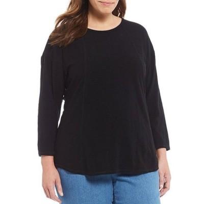 ウエストバウンド レディース Tシャツ トップス Plus Size 3/4 Sleeve Seam Solid Cotton Blend Tee