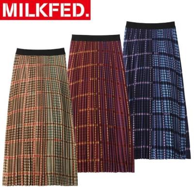 スカート ミルクフェド MILKFED PLAID PLEATED SKIRT プラッド プリ—テッド ロング スカート 103203032015 マキシ レディース チェック 千鳥格子 ロゴ