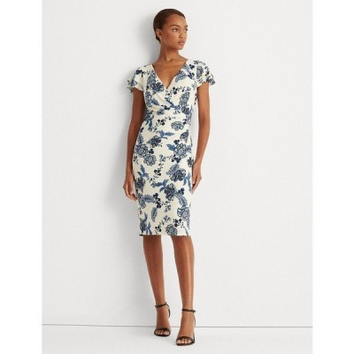 ラルフローレン ワンピース トップス レディース Petite Floral Jersey Surplice Dress Ivory/Blue