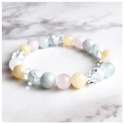 〈34〉【人気が高まる】 天然石 パワーストーンブレスレット 数珠 ブレスレット アクアマリン・ローズクォーツ・アラゴナイト
