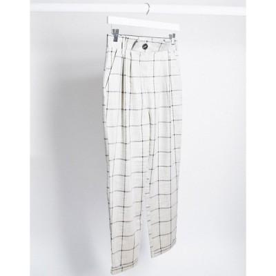 エイソス レディース カジュアルパンツ ボトムス ASOS DESIGN grid check tapered pants with paperbag waist Check
