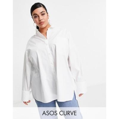 エイソス レディース シャツ トップス ASOS DESIGN Curve long sleeve oversized dad shirt in cotton in white