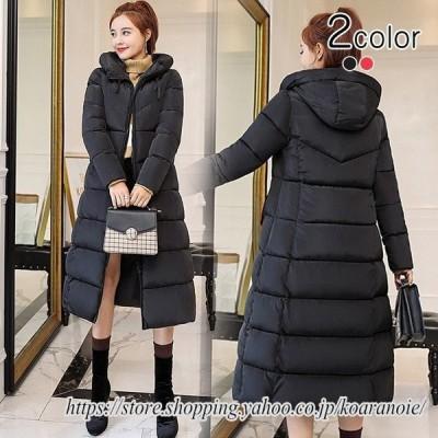 中綿コート レディース ロング ミモレ丈 大きいサイズ aライン フード スタンドカラー 無地 シンプル キルティング コート アウター ベンチコート