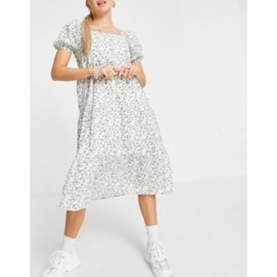 インフルエンス Influence レディース ワンピース ワンピース・ドレス floral midi tea dress with shirred sleeves マルチカラー