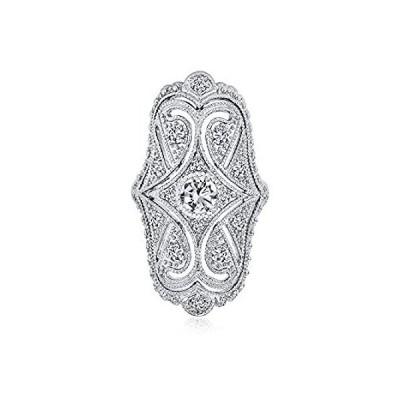 [ブリングジュエリー] CZ ロジウムメッキ 真鍮製 アールデコ調 アンティークスタイル ワイド 銀線細工 アーマーリング 指輪 サイズ 20号