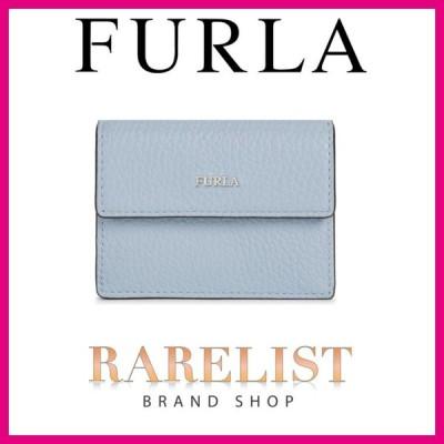 フルラ FURLA 財布 小財布 三つ折り アガータ リノ ブルー ホワイト シルバー レザー