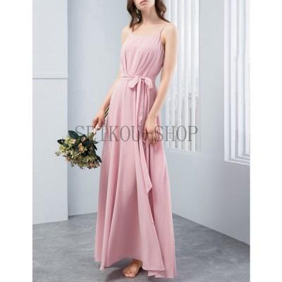 激安 パーティードレス 結婚式ドレス ロングシフォンワンピースリンボン付き 呼ばれ