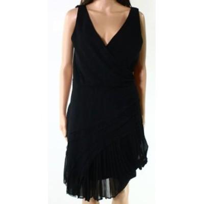 ファッション ドレス Designer Brand NEW Black Womens Medium M V-Neck Pleated Sheath Dress