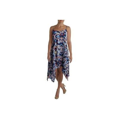 ドレス ワンピース Aqua アクア 2094 レディース ネイビー プリント Vネック Handkerchief Hem カジュアル ドレス M BHFO