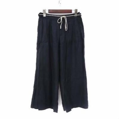 【中古】ルミノア Leminor ガウチョ パンツ 38 M 紺 ネイビー リネン ワイド クロップド 無地 シンプル レディース