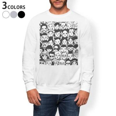 トレーナー メンズ 長袖 ホワイト グレー ブラック XS S M L XL 2XL sweatshirt trainer 裏起毛 スウェット 人間  016135