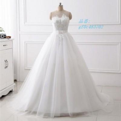 ウエディングドレス ホワイト ノースリーブ リボン キレイめ 結婚式ドレス 見せバック 背開き 花嫁ドレス Aライン 大きいサイズ プリンセ