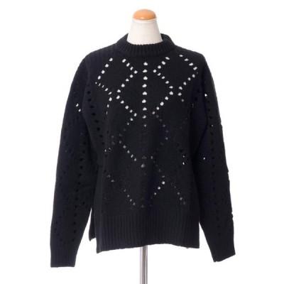 プリングル(PRINGLE OF SCOTLAND) ダイヤ透かし編みセーター ウールカシミア ブラック