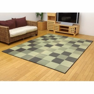 IKEHIKO 純国産い草ラグカーペット『ブロック2』 8220430 グレー 約191×250cm