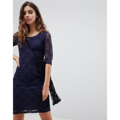 グラマラス レディース ワンピース トップス Glamorous Lace Midi Dress Navy