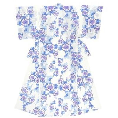 浴衣 レディース ホワイト 白 ブルー 青 パープル 紫 朝顔 あさがお 花 フラワー 綿 夏祭り 花火大会 女性用 仕立て上がり【フリーサイズ