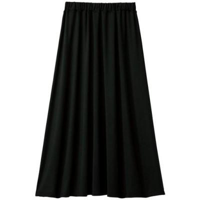 【ぽっちゃりさんサイズ】接触冷感リラックスフレアスカート/ブラック/LL(77~85)