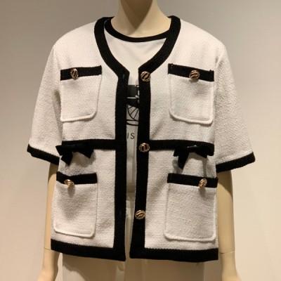 白 ツィード ダブルポケット ノーカラー ジャケット JKT 半袖 トップス レディース 女性 きれいめ おしゃれ かわいい 大人 女性 20代 30代 40代 50代