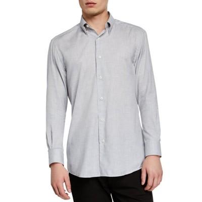 エルメネジルド・ゼニア メンズ シャツ トップス Men's Washed Solid Cotton Sport Shirt