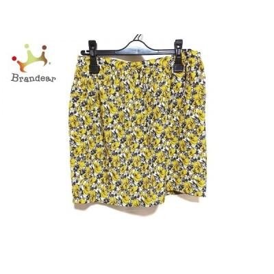 ドゥロワー Drawer スカート サイズ38 M レディース イエロー×白×ネイビー 花柄     スペシャル特価 20200524