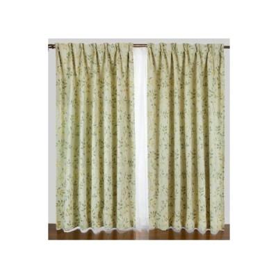 リーフ柄1級遮光カーテンと花粉キャッチミラーレース 4枚入り ベージュ 巾100X丈110(108)