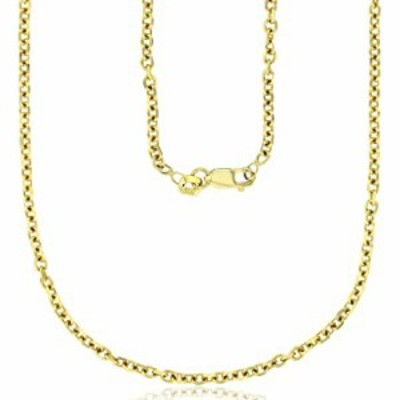 """14K Yellow Gold 2.20mm Diamond Cut Rolo Cable Chain with Lobster Claw Clasp 