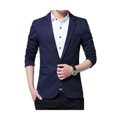 テーラードジャケット メンズ ファッションスーツ コート トップス ビジネス ストレッチ スリム 長袖 無地 細身 ブラック (ネイビー XL)
