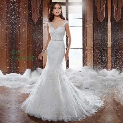 ウエディングドレス レース マーメイドドレス Vネック ホワイトドレス 結婚式 背開き 披露宴 白 花嫁 トレーン ロングドレス 撮影 ブライ