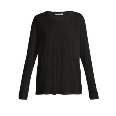 フランシス ドゥ ルルド Frances de Lourdes レディース 長袖Tシャツ トップス Marlon round-neck cashmere and silk-blend T-shirt black