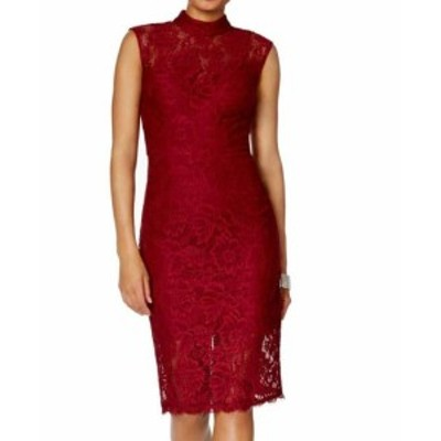 Betsy & Adam ベッツィアンドアダム ファッション ドレス Betsy & Adam NEW Red Womens Size 10 Mock-Neck Lace Sheath Dress