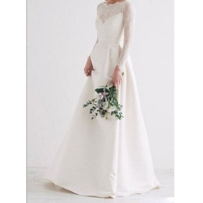 Aライン ウェディングドレス 長袖 ウエディングドレス ワンピース ロング 編み上げタイプ 前撮り 後撮り 披露宴 結婚式