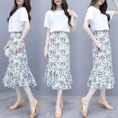 ワンピース夏白ビーズ半袖Tシャツ雛菊シフォンロングスカート結婚式上品30代40代大人
