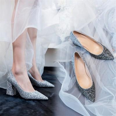 ハイヒール レディースシューズ 靴 美脚 きれいめ おしゃれ パンプス 痛くない 結婚式 チャンキーヒール ポインテッドトゥ ウエディング用 大きいサイズ