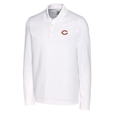 """メンズ ポロシャツ """"Chicago Bears"""" Cutter & Buck Advantage Long Sleeve Polo - White"""