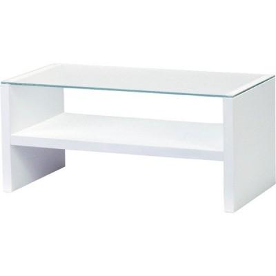 センターテーブル 幅90cm ガラステーブル 収納 棚付きローテーブル リビングテーブル コーヒーテーブル カフェテーブル 机 ホワイト