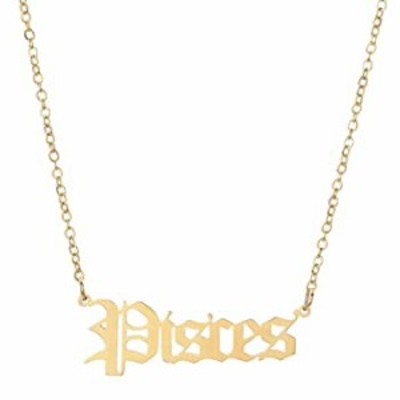 Vintashion Gold Plated Stainless Steel Twelve Constellations Zodiac Pendant Necklace (Pisces)