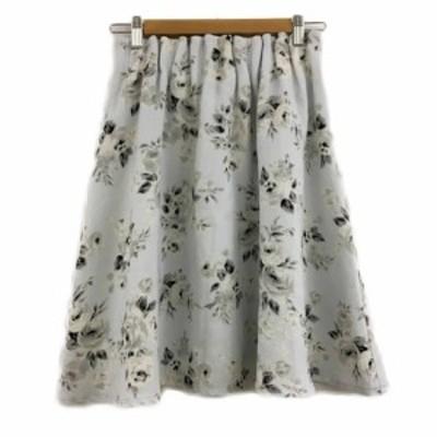 【中古】ダブルクローゼット スカート フレア ひざ丈 花柄 ウエストゴム F 水色 黒 ライトブルー ブラック